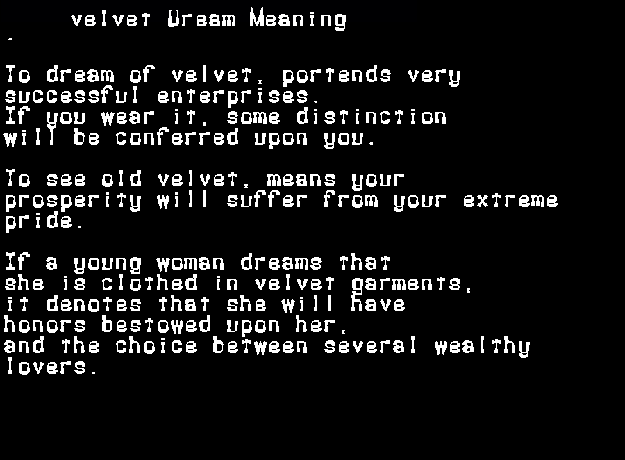 dream meanings velvet