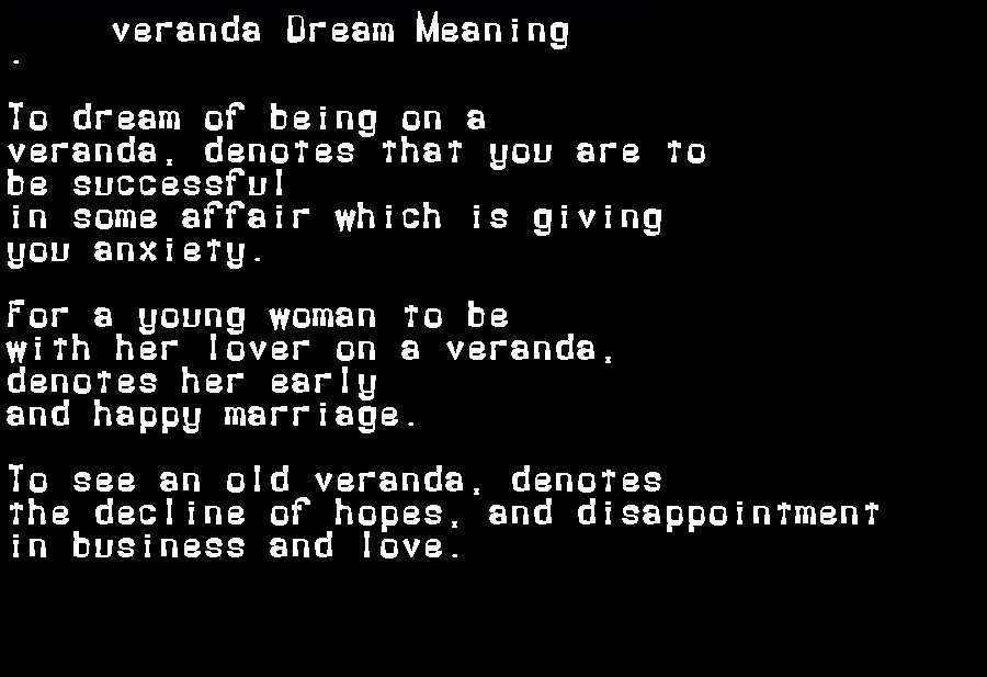 dream meanings veranda