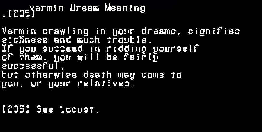 dream meanings vermin