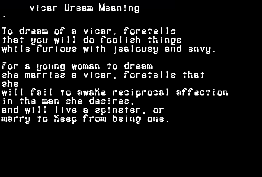dream meanings vicar