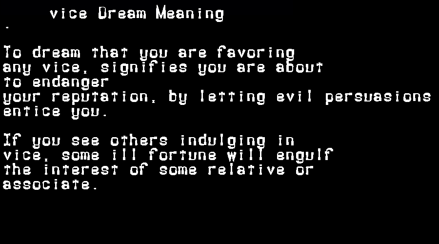 dream meanings vice
