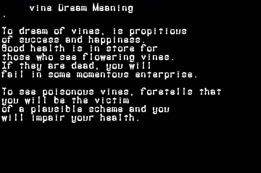 dream meanings vine