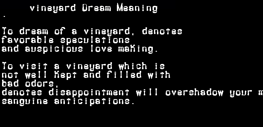 dream meanings vineyard