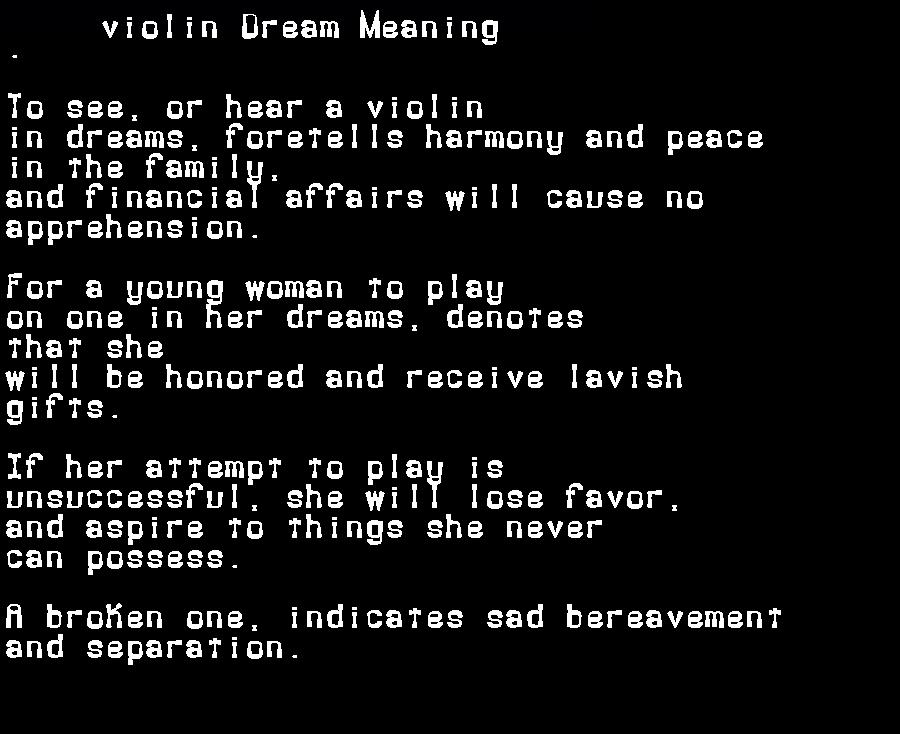 dream meanings violin
