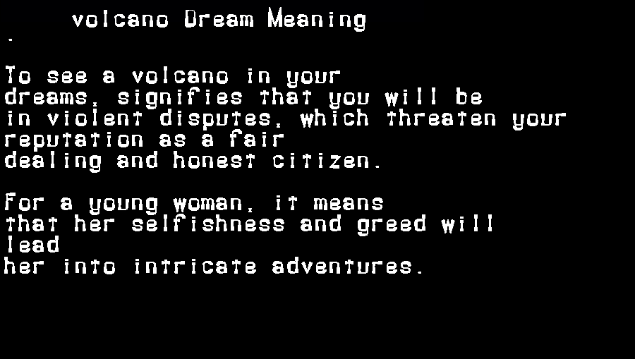 dream meanings volcano
