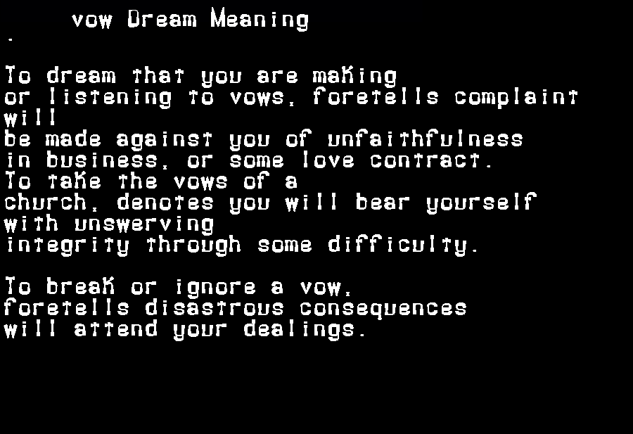 dream meanings vow