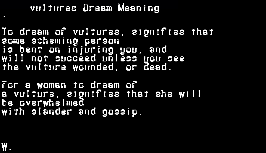 dream meanings vultures