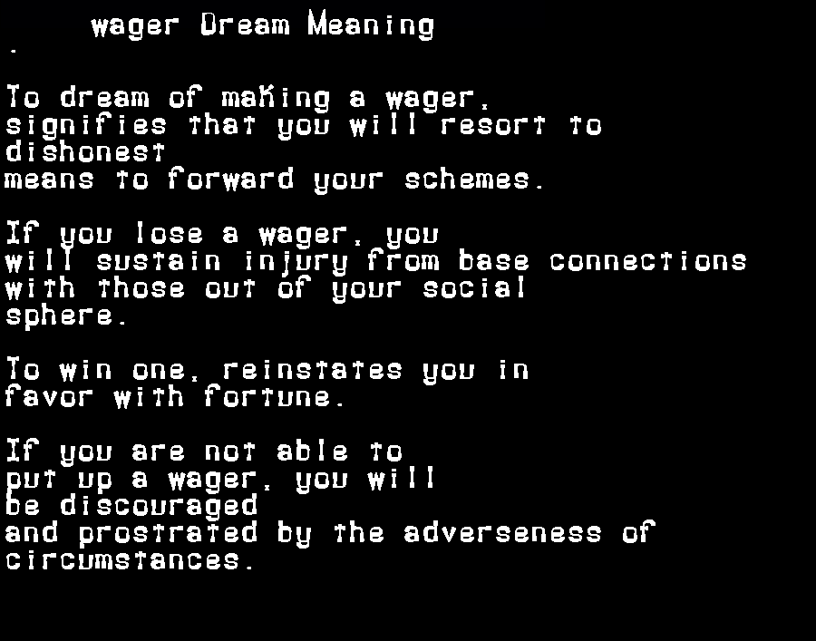 dream meanings wager