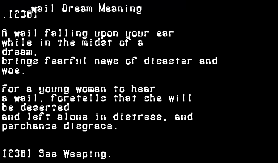 dream meanings wail