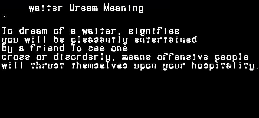 dream meanings waiter