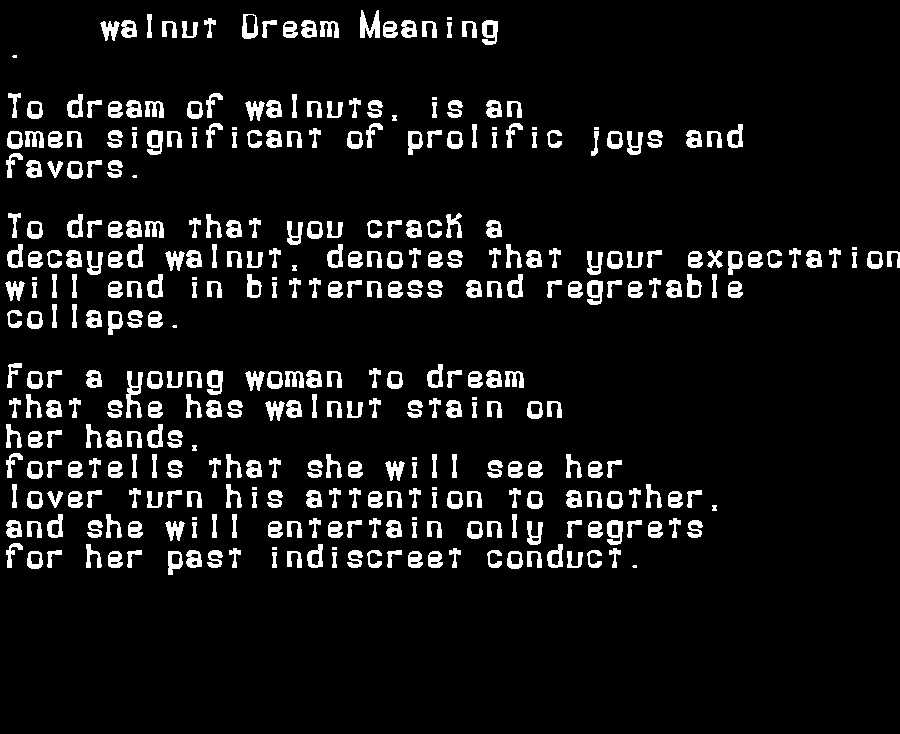 dream meanings walnut