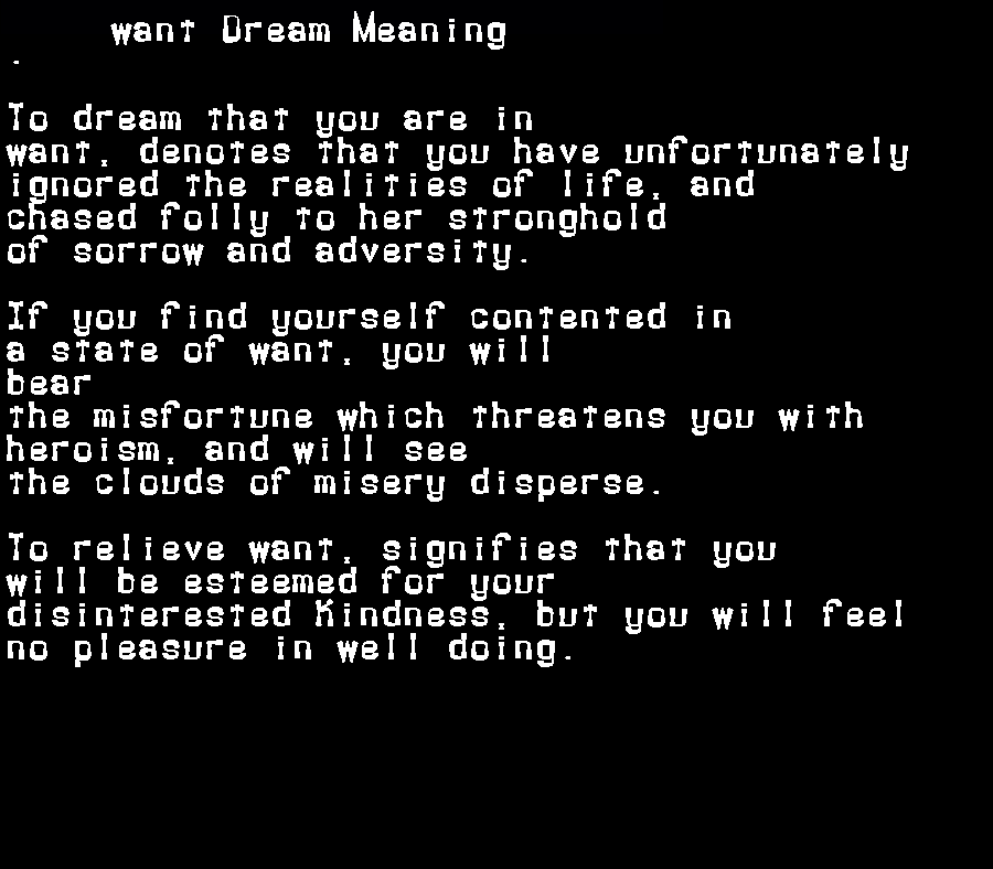 dream meanings want