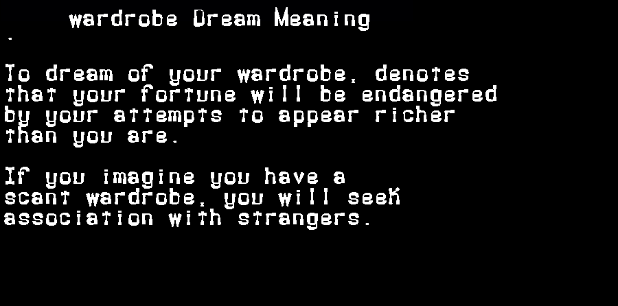 dream meanings wardrobe