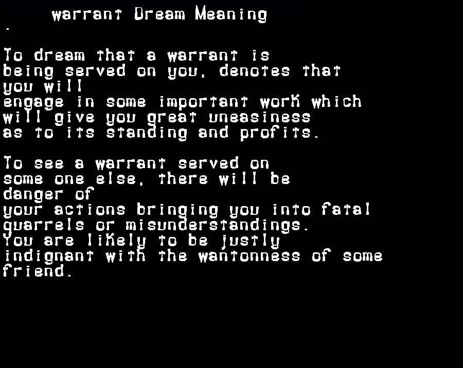 dream meanings warrant