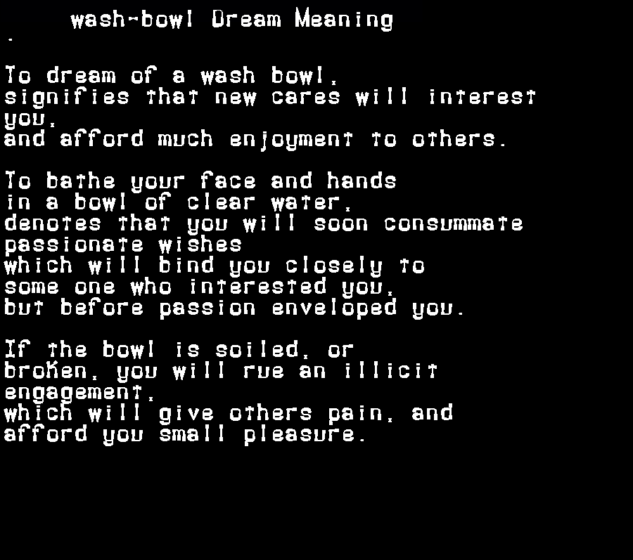 dream meanings wash-bowl