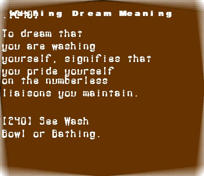 dream meanings washing