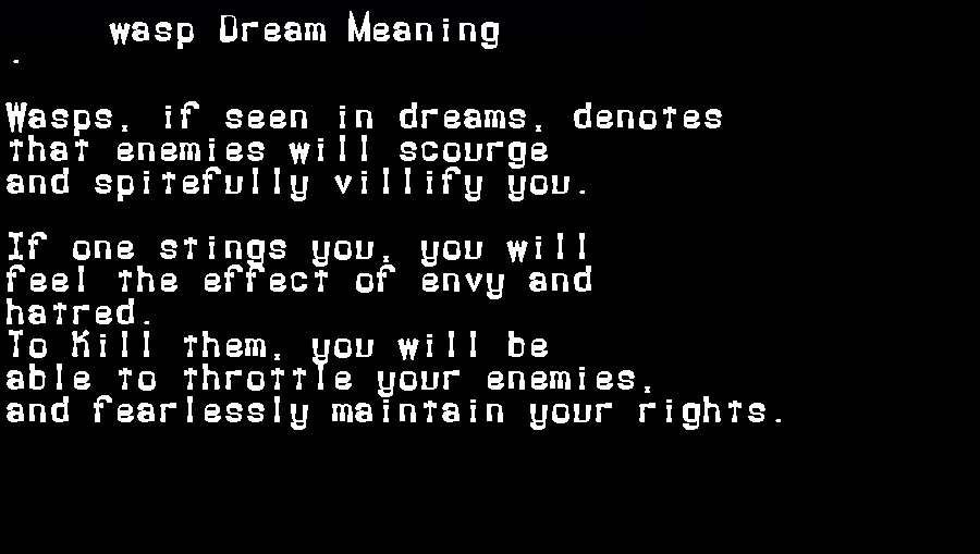 dream meanings wasp