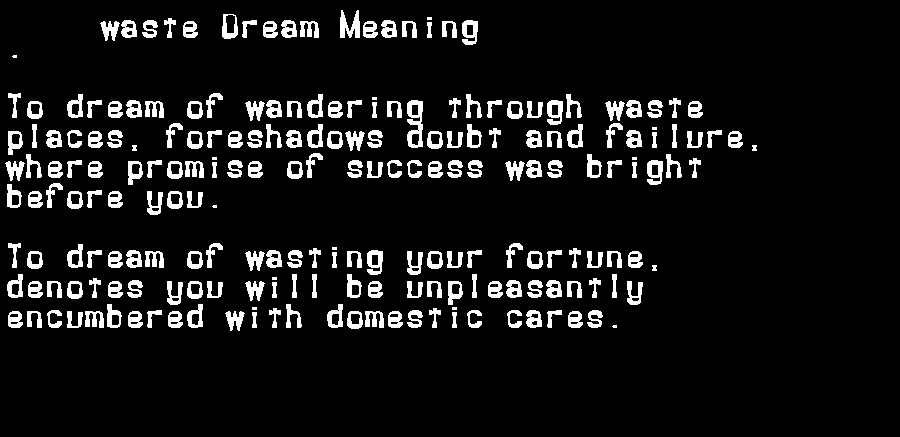 dream meanings waste