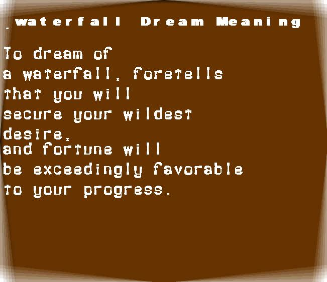 dream meanings waterfall