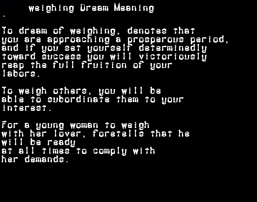 dream meanings weighing