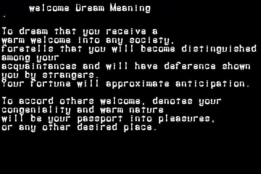 dream meanings welcome