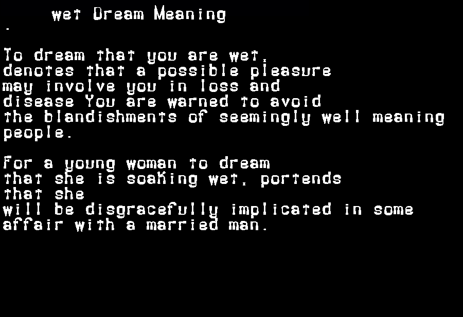 dream meanings wet