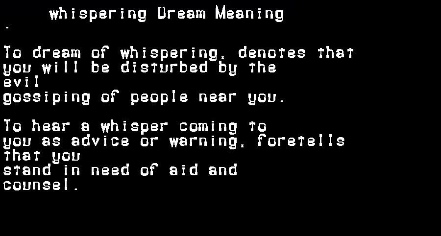 dream meanings whispering
