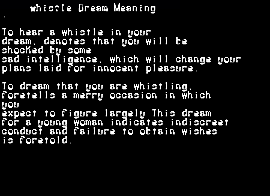 dream meanings whistle