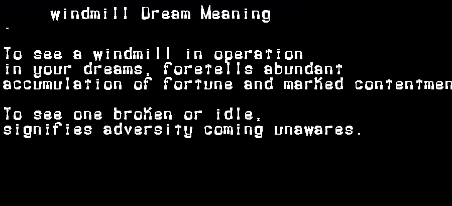 dream meanings windmill