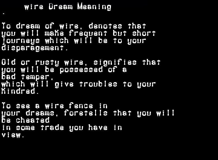dream meanings wire