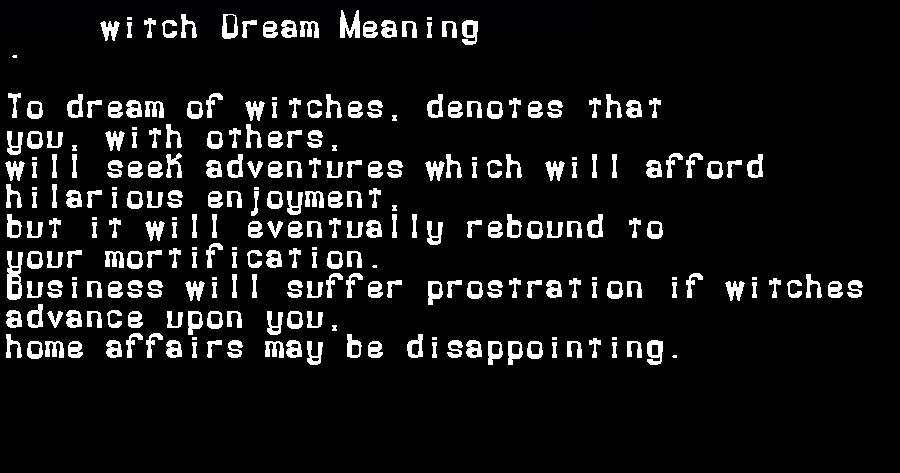 dream meanings witch