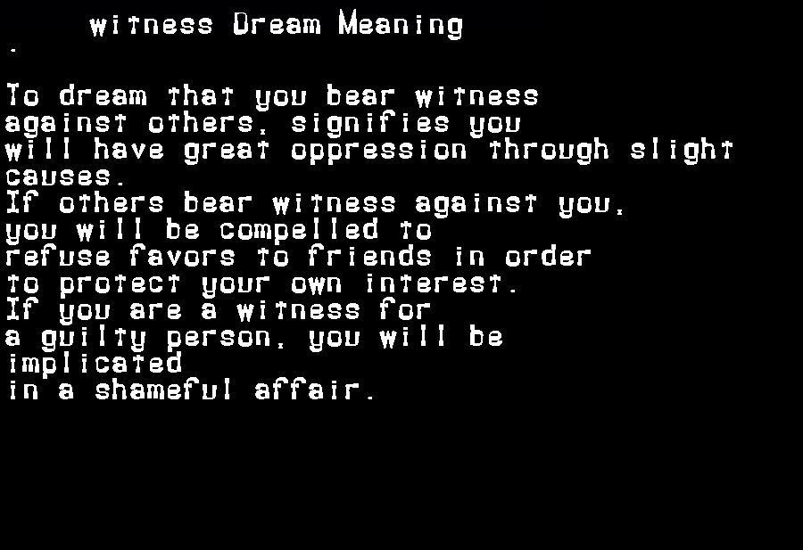 dream meanings witness