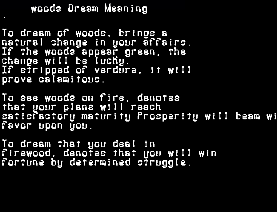 dream meanings woods