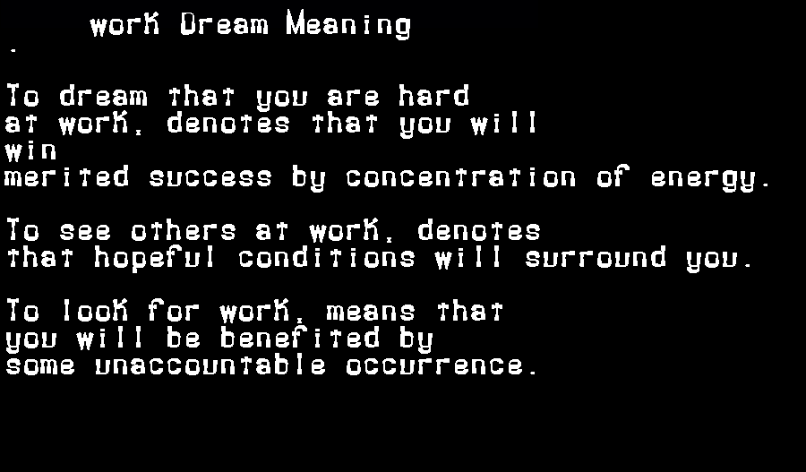 dream meanings work