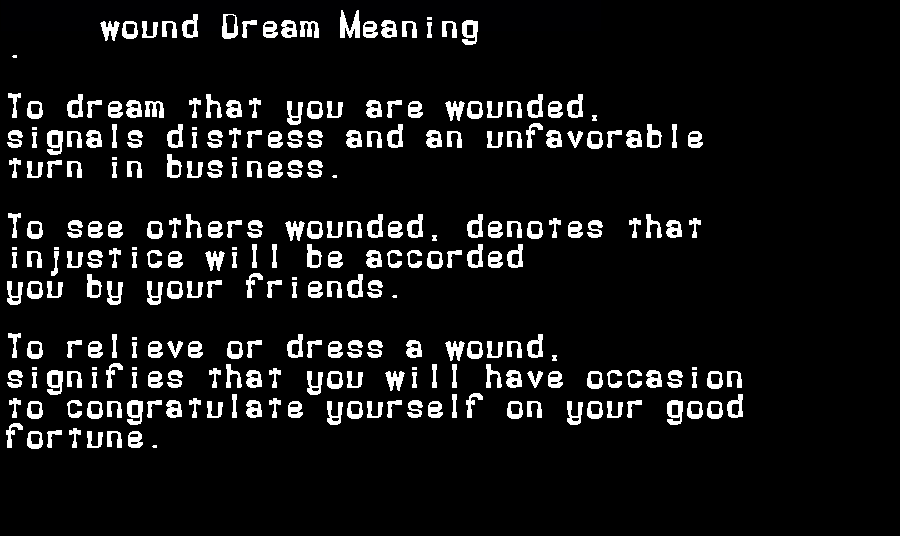 dream meanings wound