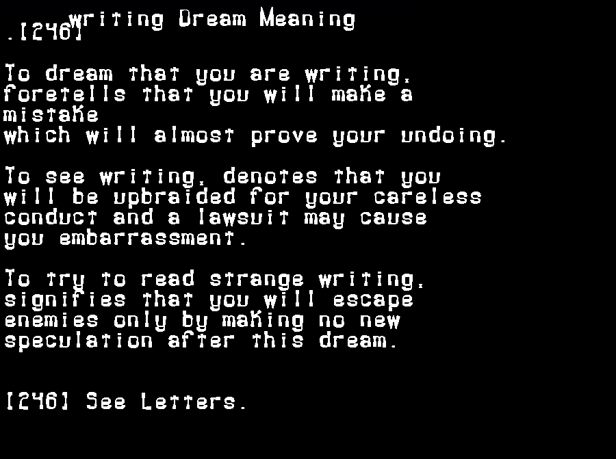 dream meanings writing