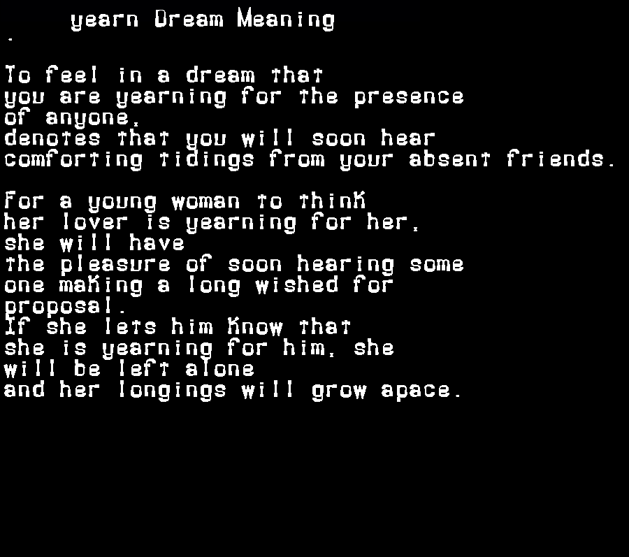 dream meanings yearn