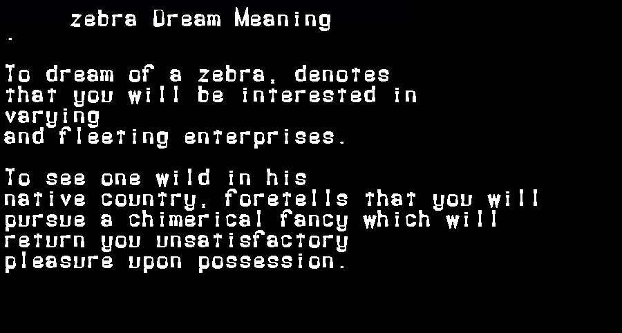 dream meanings zebra