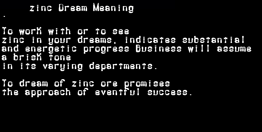 dream meanings zinc