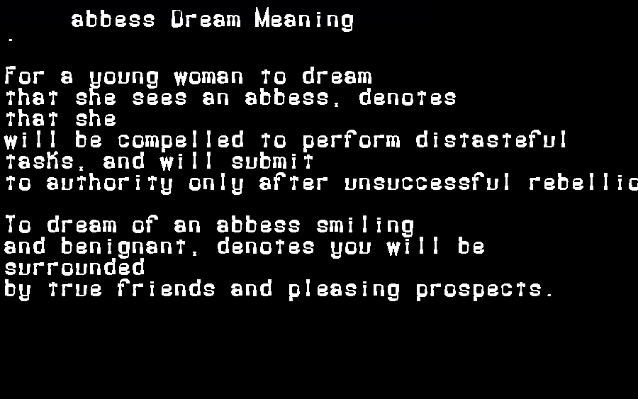 dream meanings abbess