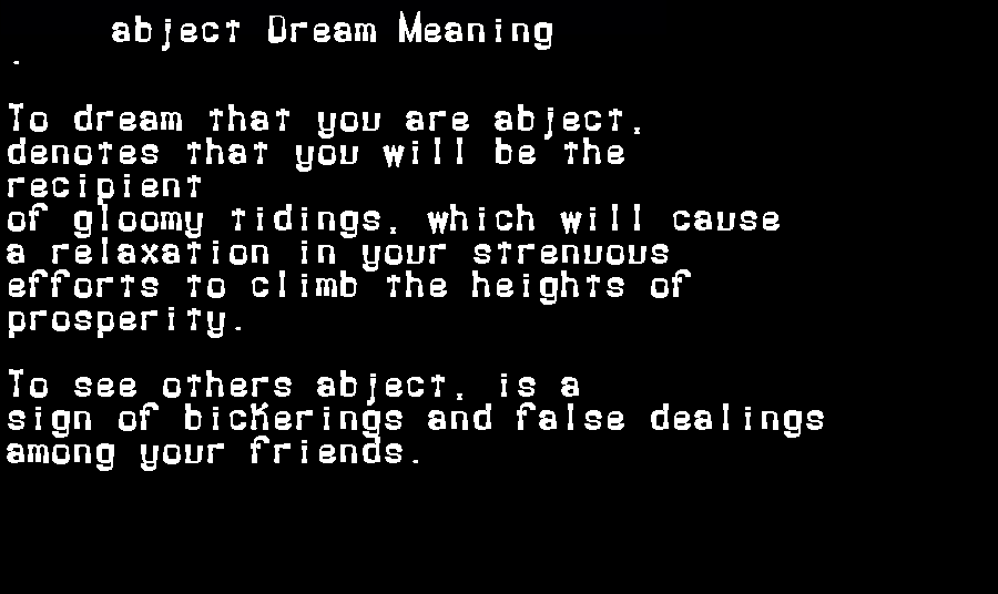 dream meanings abject