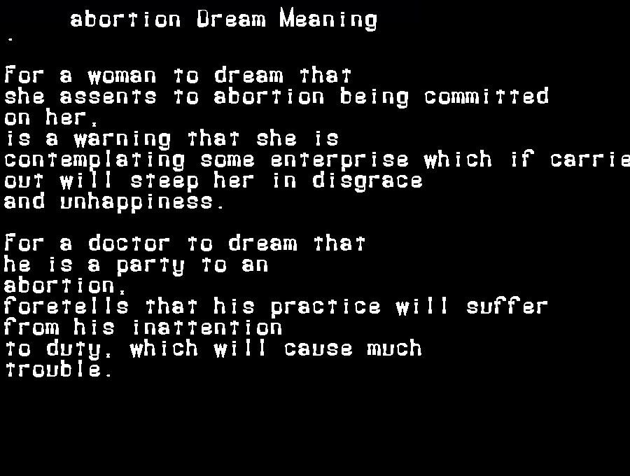 dream meanings abortion