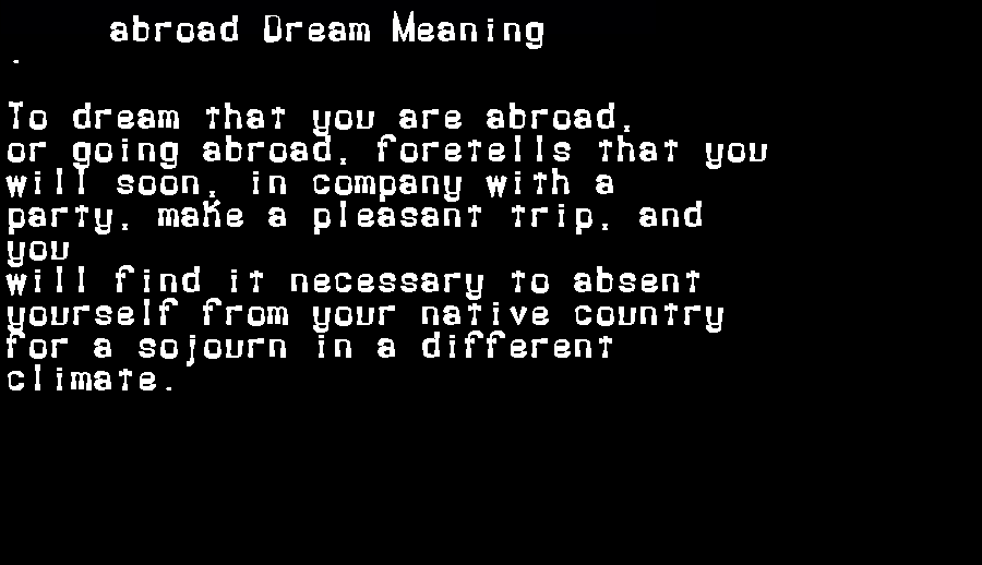 dream meanings abroad