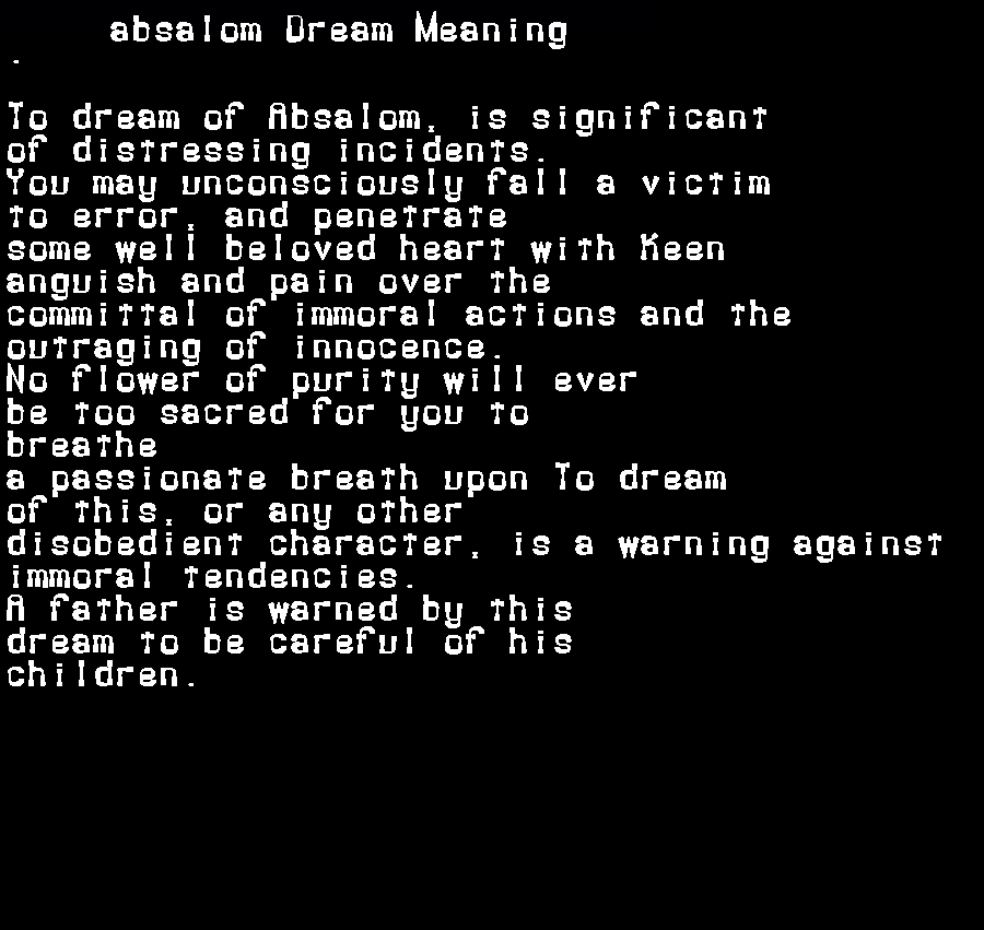 dream meanings absalom