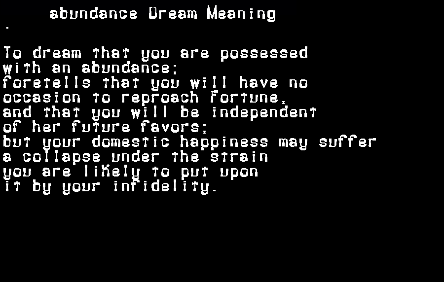 dream meanings abundance