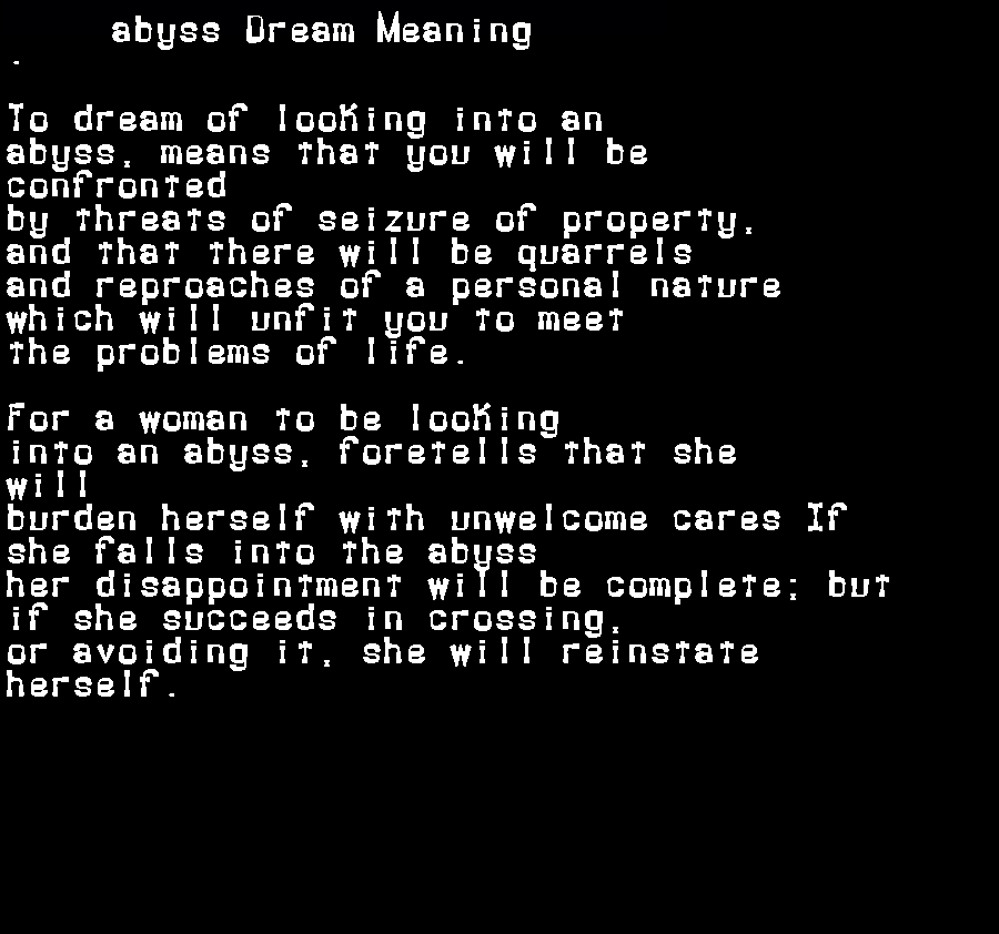 dream meanings abyss