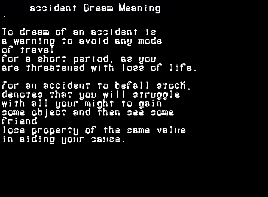 dream meanings accident