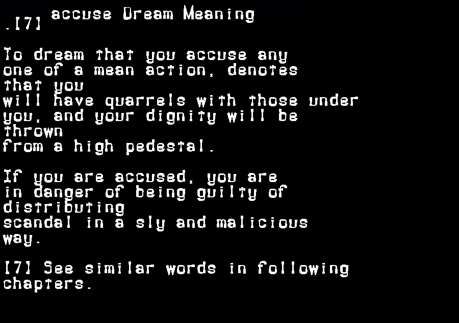 dream meanings accuse