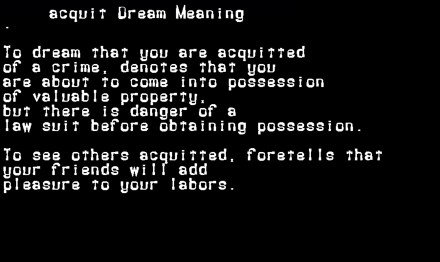 dream meanings acquit