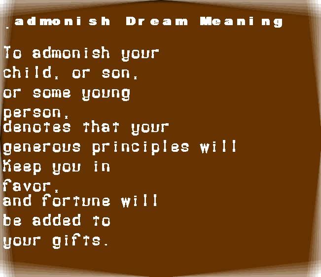 dream meanings admonish